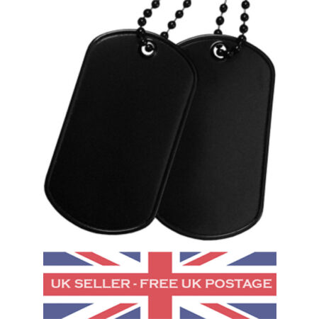 img-Black Dog Tags & Chain: Military Army RAF ID Tag Surplus Stainless Metal Pendant