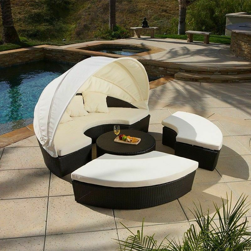 Outdoor Patio Furniture 4pcs All Weather Wicker Sectional