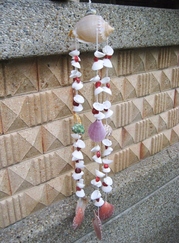 Sea shell hanging wind chime beautiful mobile home garden for Shells decorations home