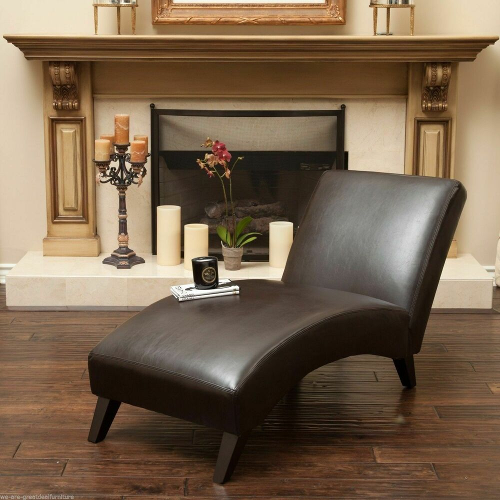 Living room furniture contemporary brown leather chaise for Ebay living room chairs