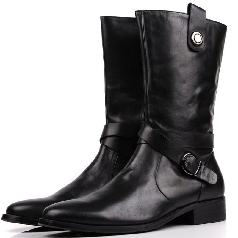 new s real leather motorcycle biker boots black