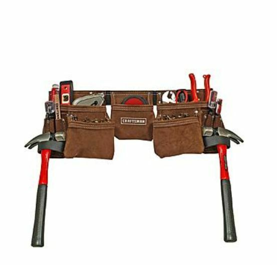 craftsman 11 pocket suede leather tool belt pouch apron