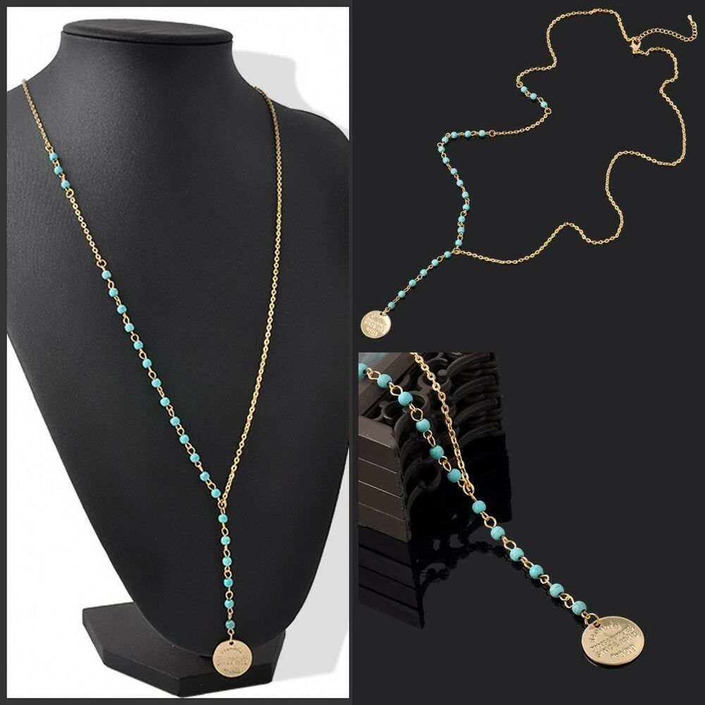 Elegant Women Lady Turquoise Beads Pendant Long Chain Gold ...