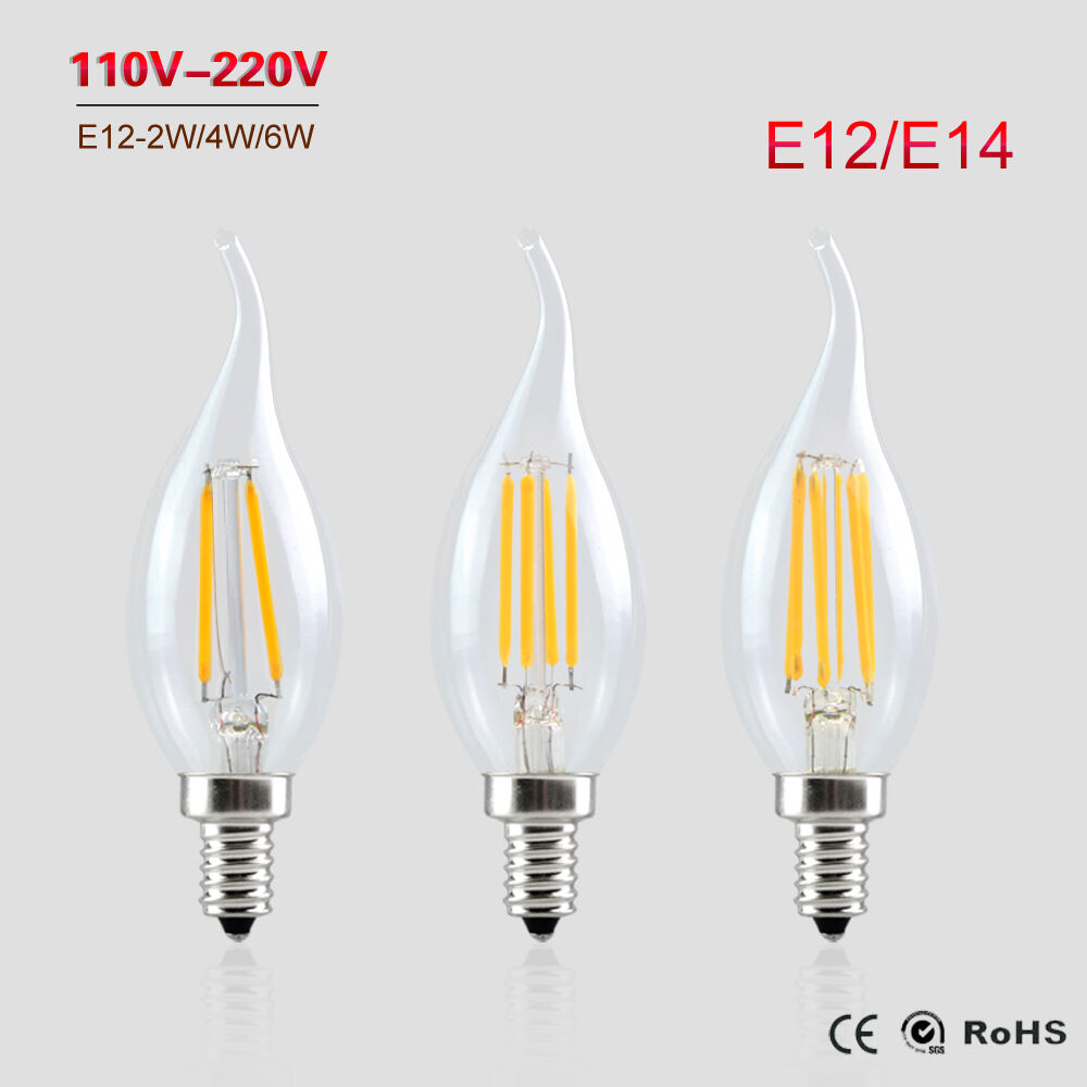 e12 e14 2w 4w 6w edison cob filament retro led light candle flame bulb lamp ebay. Black Bedroom Furniture Sets. Home Design Ideas