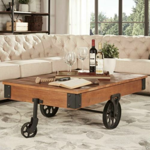 Modern coffee table wood metal living room rustic vintage industrial furniture ebay Metal living room furniture