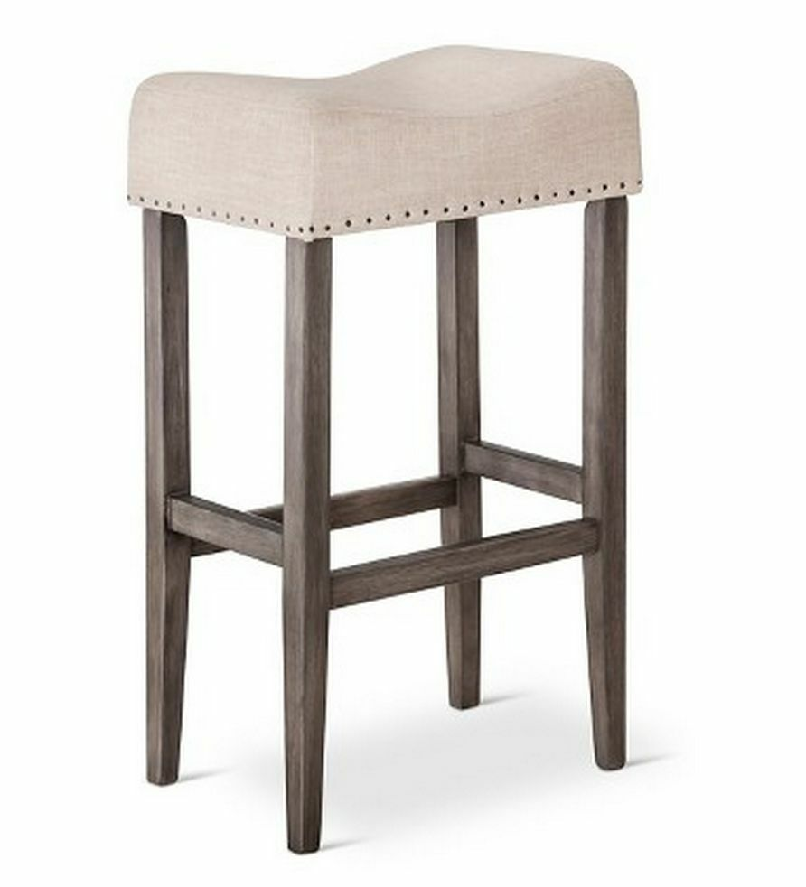 Wooden Linen Saddle Pub Chair 29 Quot Bar Counter Stool