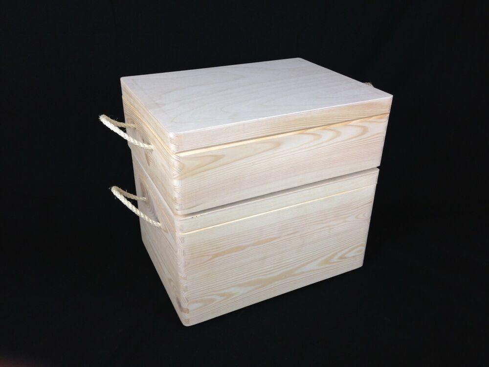 Storage wooden pine box crate container tool chest with