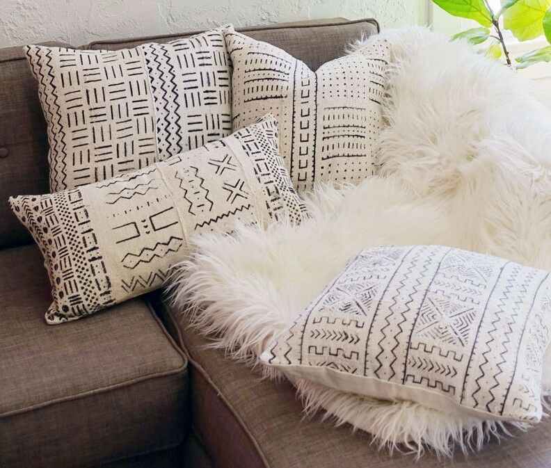 Throw Pillows For Off White Couch : Handmade African Mudcloth Throw Pillow Cover White Square Couch Sofa Decorative eBay
