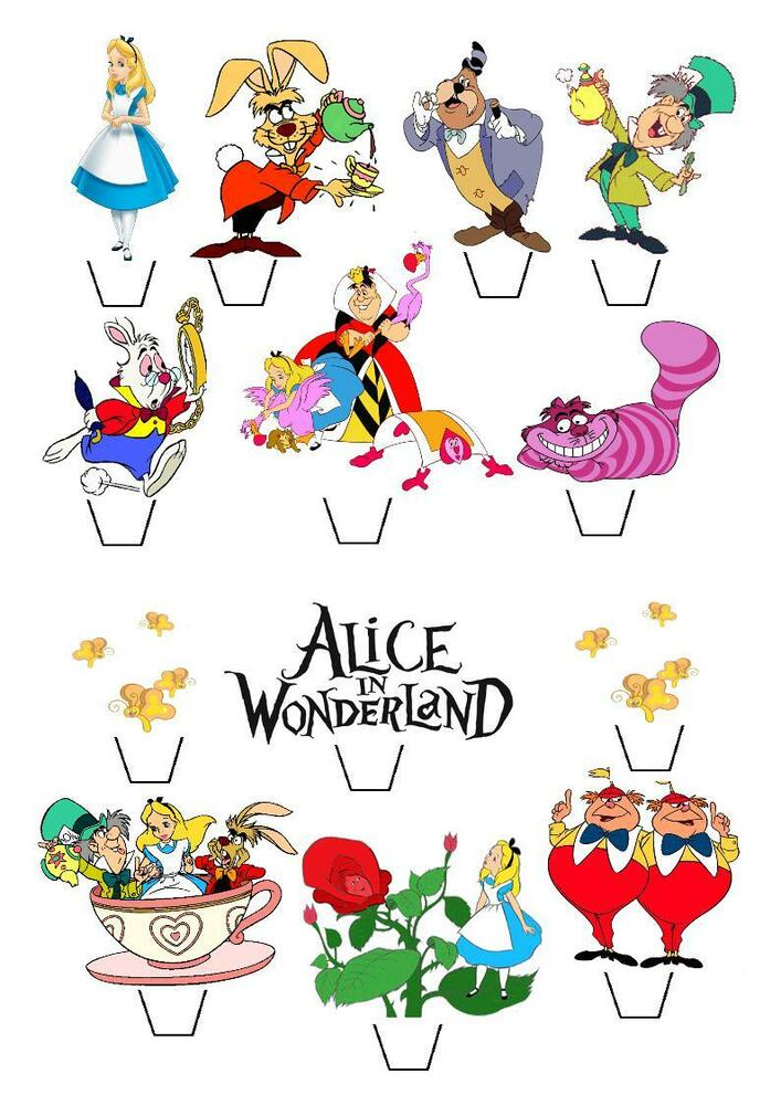 13 Alice In Wonderland STAND UP Cupcake Fairy Cake Toppers ...