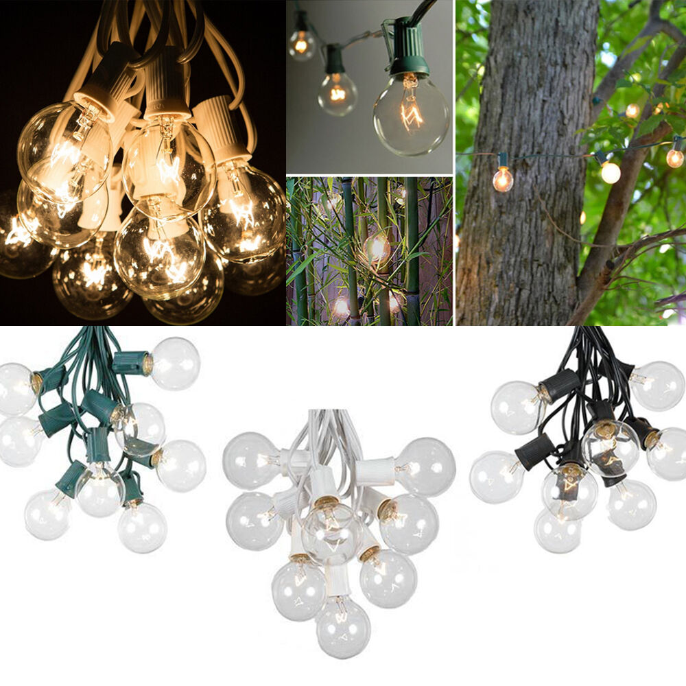 Ebay Outdoor Xmas Lights: Set Of 25 Clear Bulbs: 25 Foot G40 Outdoor Globe Patio