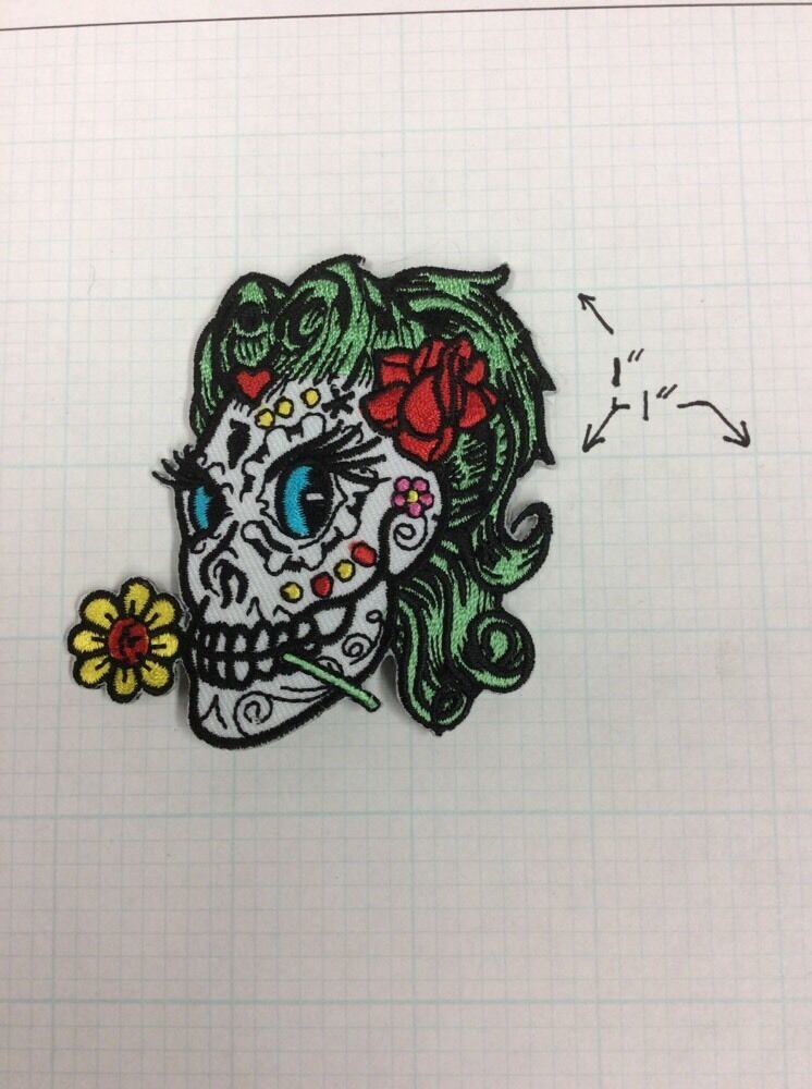 Sugar Betty Girl Skull Patch Iron On Applique Badge Day of ...