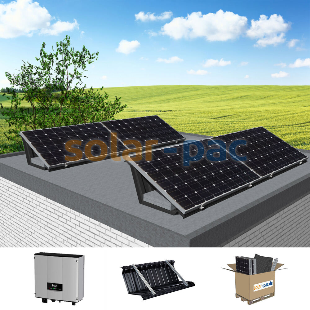 komplette 1 06 kw plug play pv solaranlage f r flachdach garage 1040wp 4module ebay. Black Bedroom Furniture Sets. Home Design Ideas