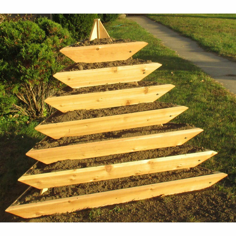 Rectangle Raised Flower Box Planter Bed 2 Tier Soil Pots: Infinite Cedar Plant Pyramid 7 Level Cedar Planter, Brown