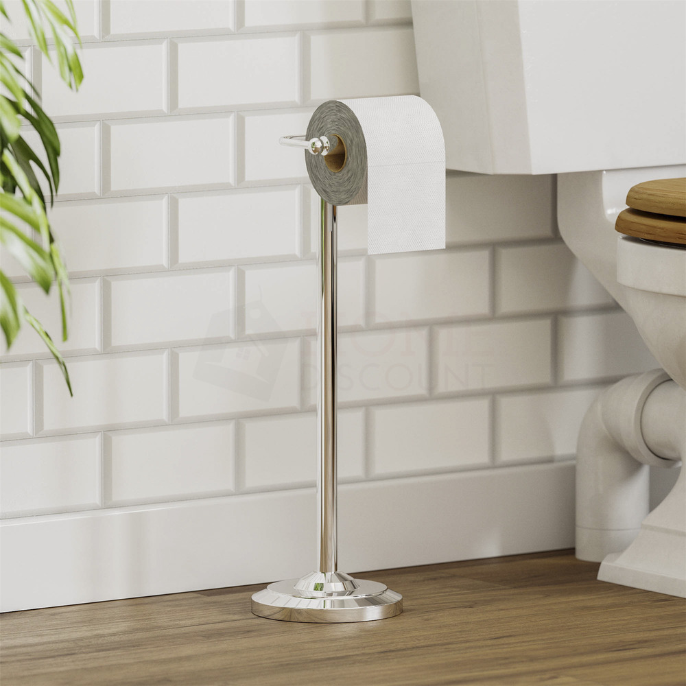 Toilet roll paper holder floor free standing chrome for Placement of toilet paper holders in bathrooms