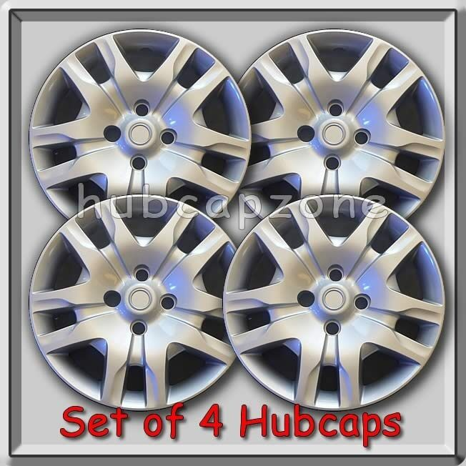 4 16 silver bolt on nissan sentra hubcaps fits 2007 2010. Black Bedroom Furniture Sets. Home Design Ideas