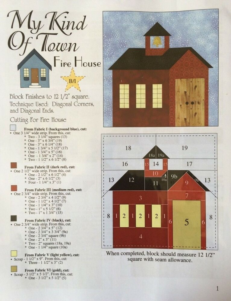 My Kind Of Town Fire House Block Quilt Leaflet Pattern By