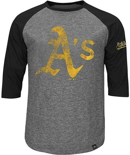 Oakland a 39 s majestic mlb mens power hit raglan 3 4 sleeve for 3xl tall graphic t shirts