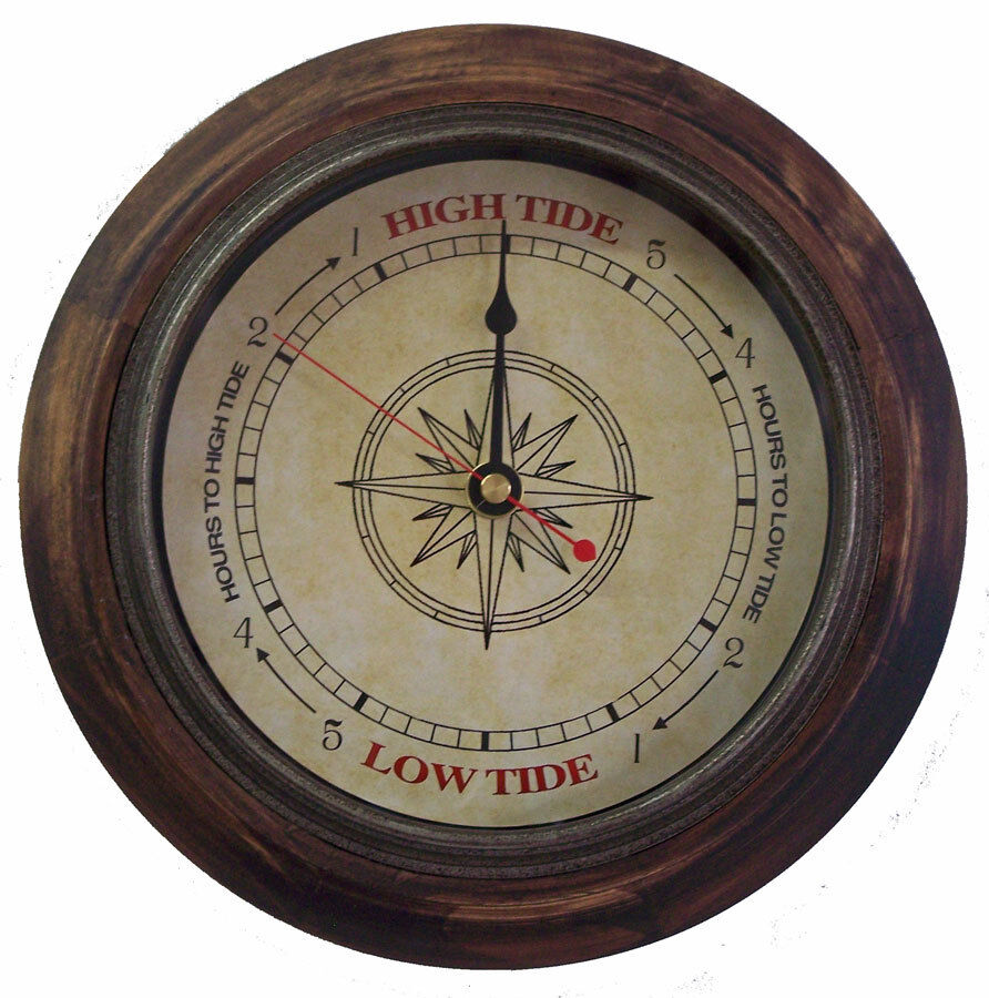 Tide Clock Antique Compass 546 Rustic Wood 9 Inch Frame