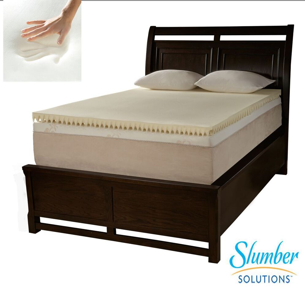 Memory foam mattress topper 4 inch slumber solutions twin queen king cal new ebay Memory foam mattress topper twin