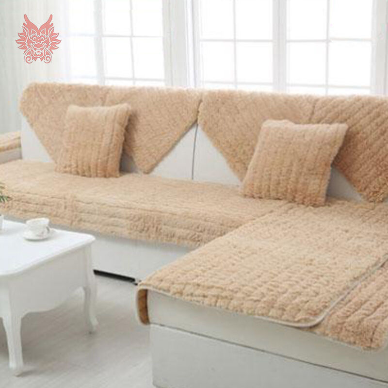 Long fur sofa cover plush slipcovers winter canape for for Sectional sofa bed india