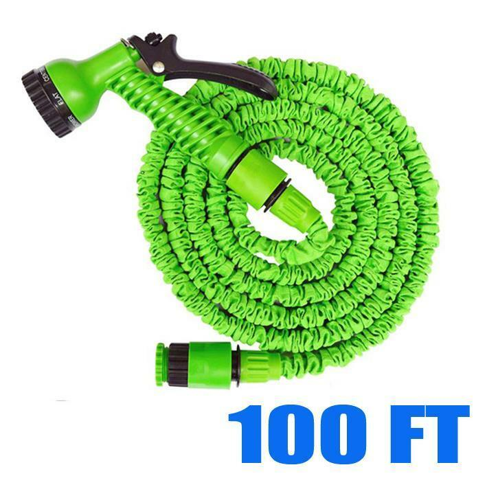 100 ft feet green latex deluxe expanding flexible garden water hose spray nozzle ebay Expandable garden hose 100 ft