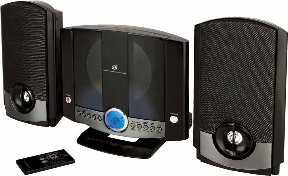small stereo system compact shelf sound mp3 dvd aux remote. Black Bedroom Furniture Sets. Home Design Ideas