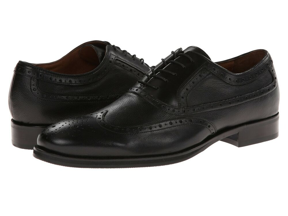 Johnston And Murphy Tyndall Black Wingtip Lace Up Oxford