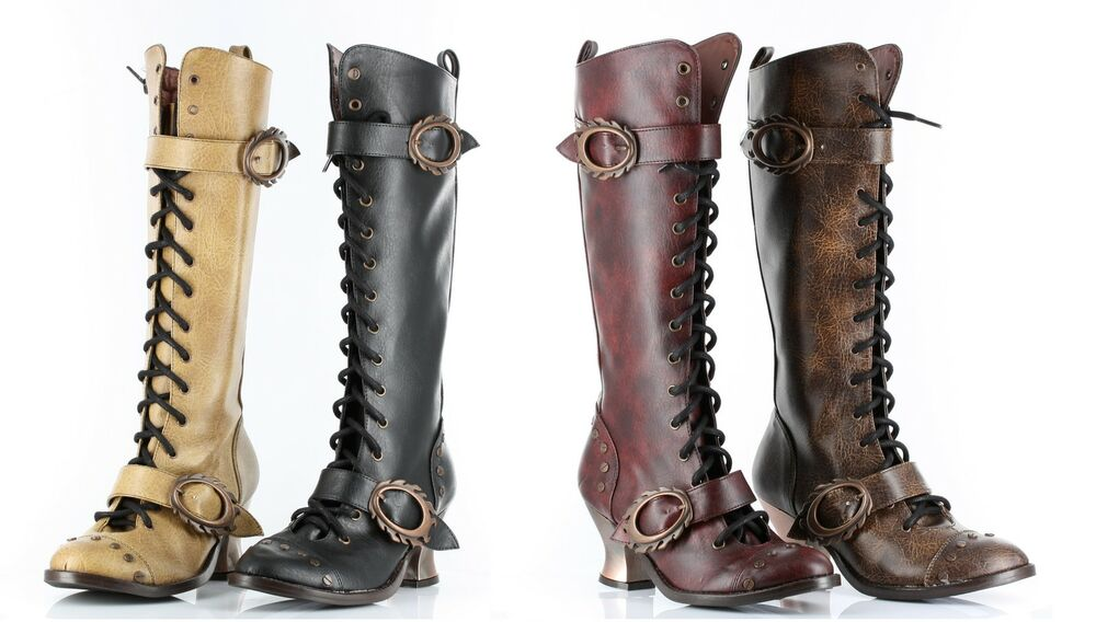 steampunk stiefel schuhe hades vintage boots gothic larp rot braun renaissance ebay. Black Bedroom Furniture Sets. Home Design Ideas