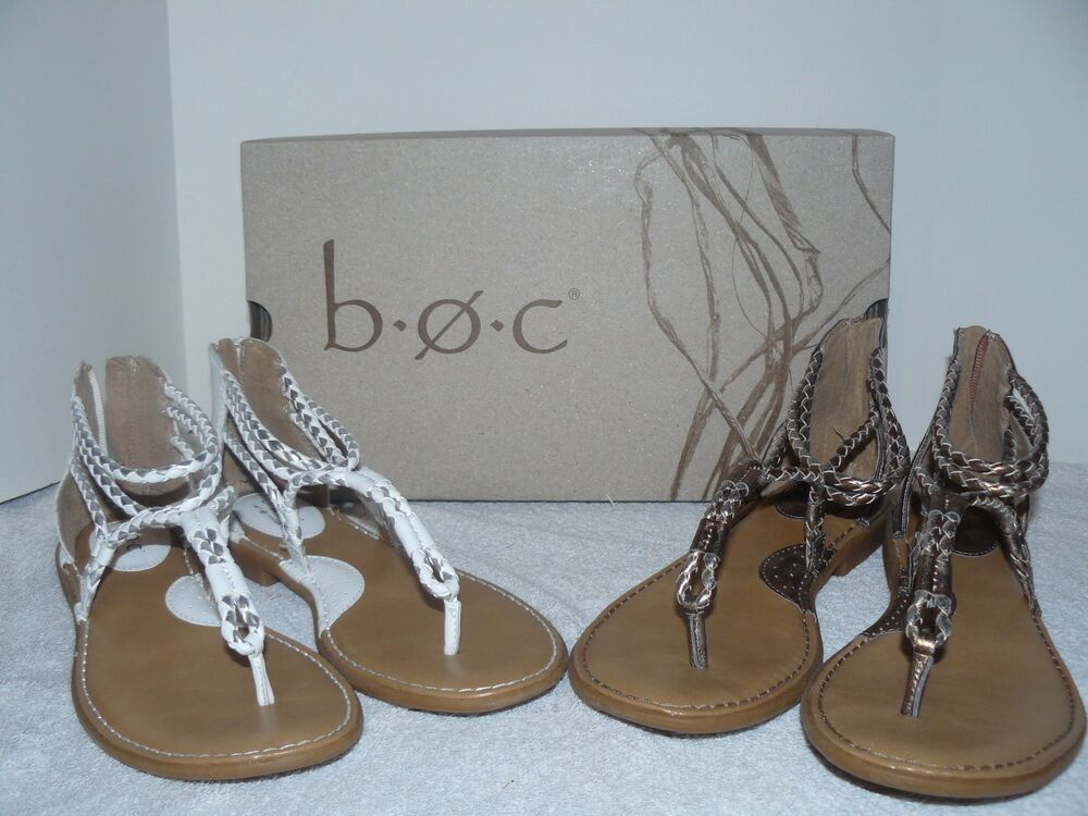 Nwt B O C Sedge White And Pewter Womens Sandals Size 9 And