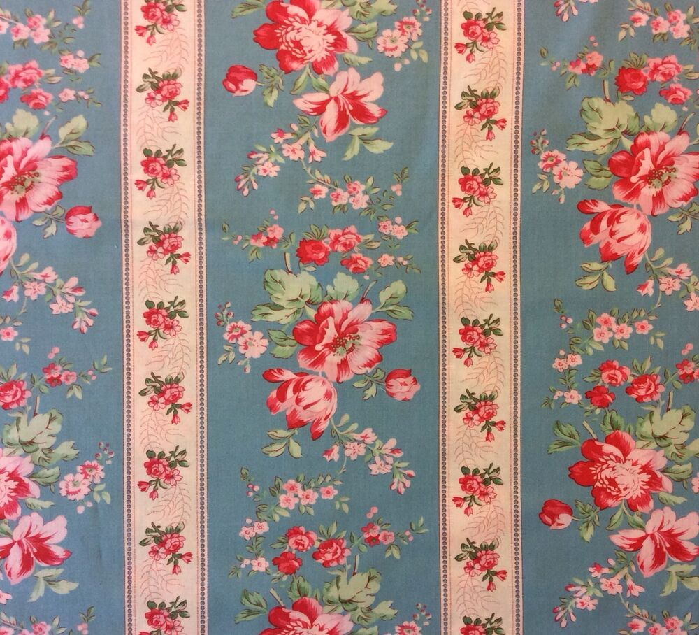 We107 country chic french floral shabby english garden for Cotton quilting fabric