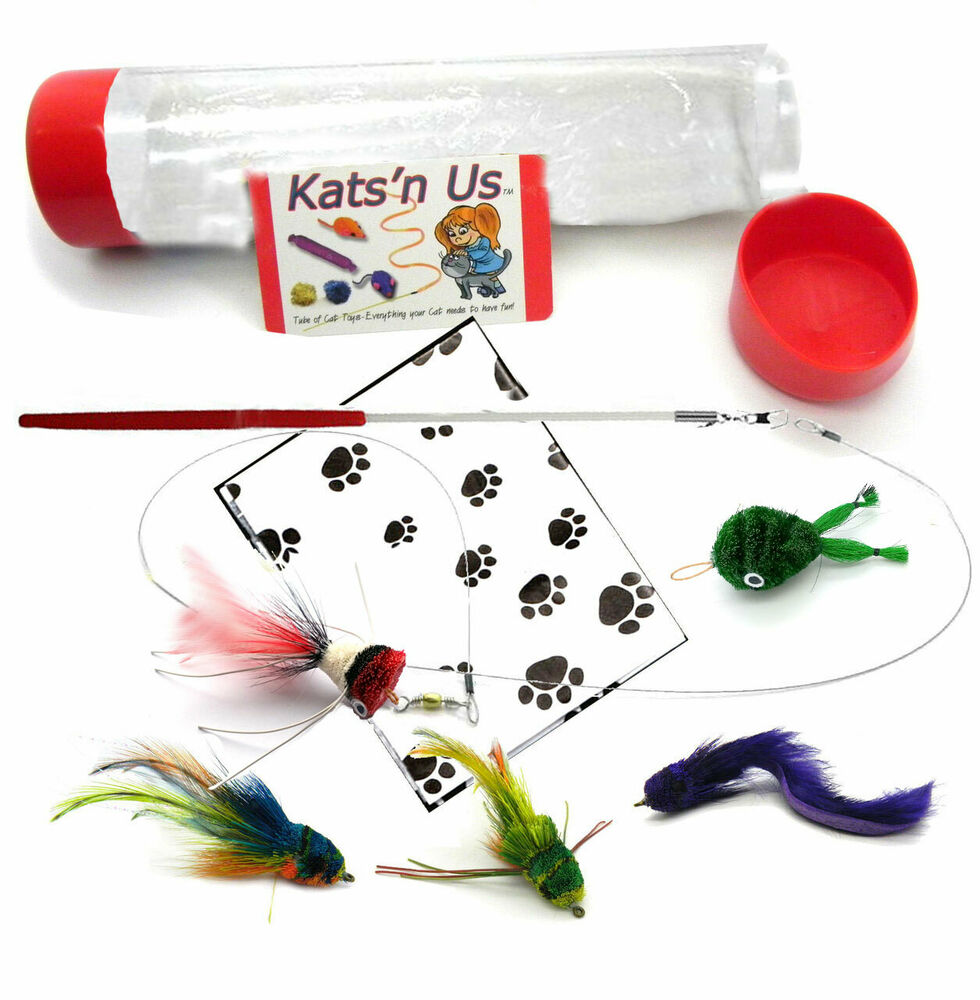 Kat lure kat fly cat toy wand kit ebay for Cat wand toys