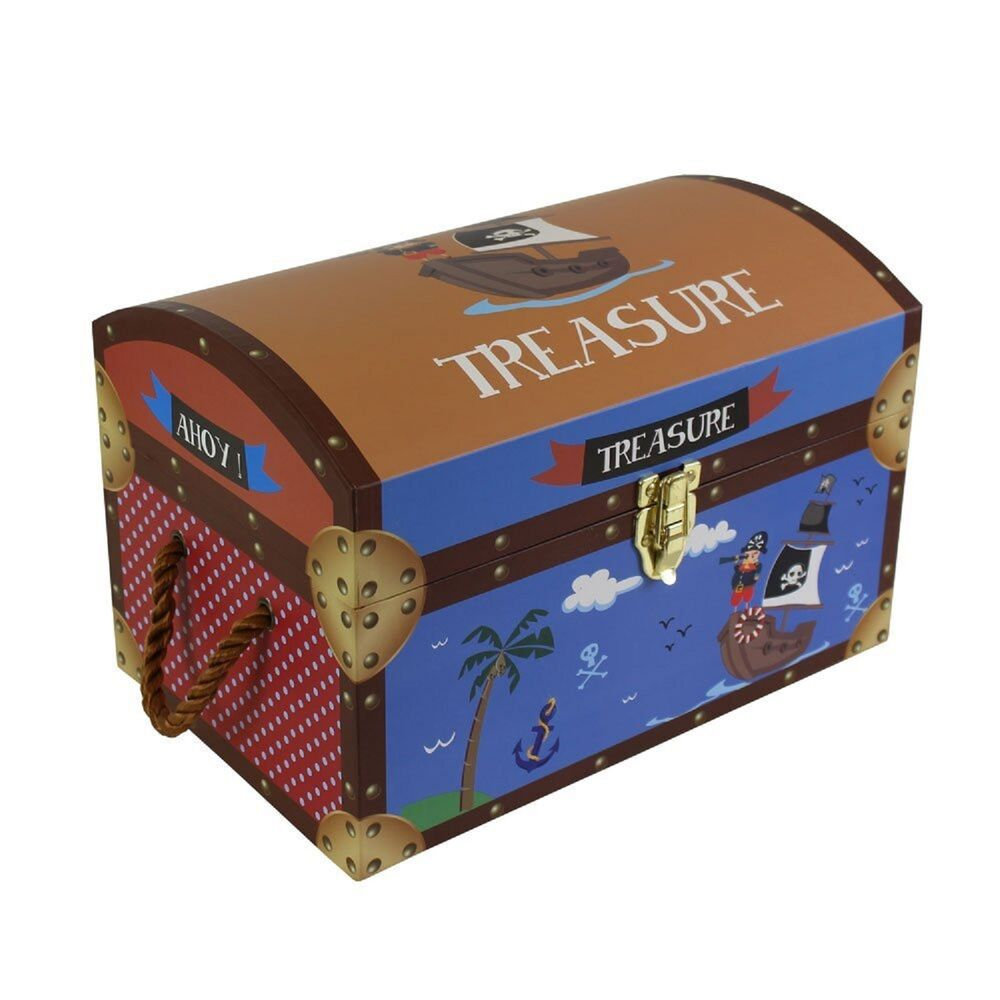 Kids children s pirate treasure chests cardboard toy for Storage treasures