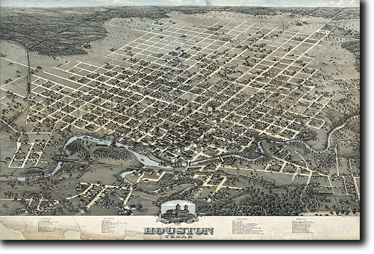 MAP OF HOUSTON TEXAS FROM 1873
