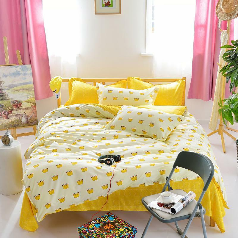 yellow crown single double queen king size bed set pillowcases quilt duvet cover ebay. Black Bedroom Furniture Sets. Home Design Ideas