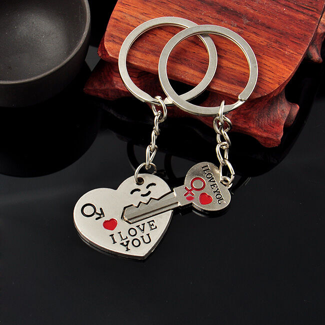 37fe1c0d7d Details about Sweet Couples Lover Heart Key Keychain Keyring Set Valentines'  Day Gift Key Fob