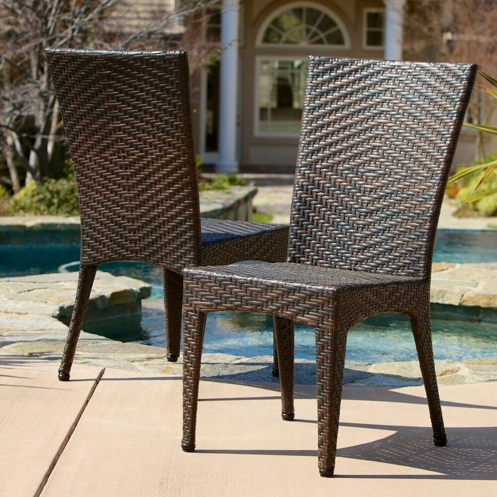 Set of 2 Outdoor Patio Furniture Brown PE Wicker Chairs