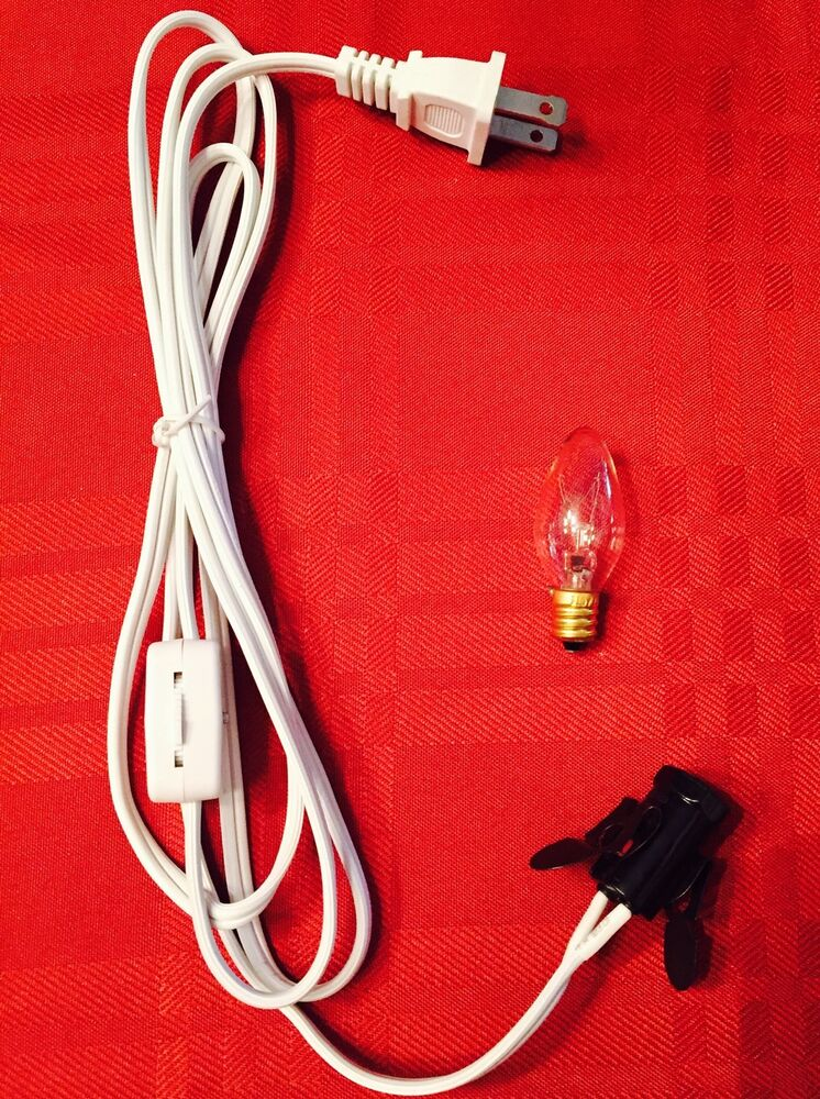 lamp cord and bulb c7 e12 socket salt selenite electric lamp cord replacement ebay. Black Bedroom Furniture Sets. Home Design Ideas