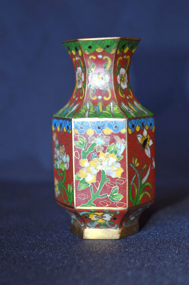 High Quality Antique Very Fine Chinese Small Cloisonne Vase Ebay