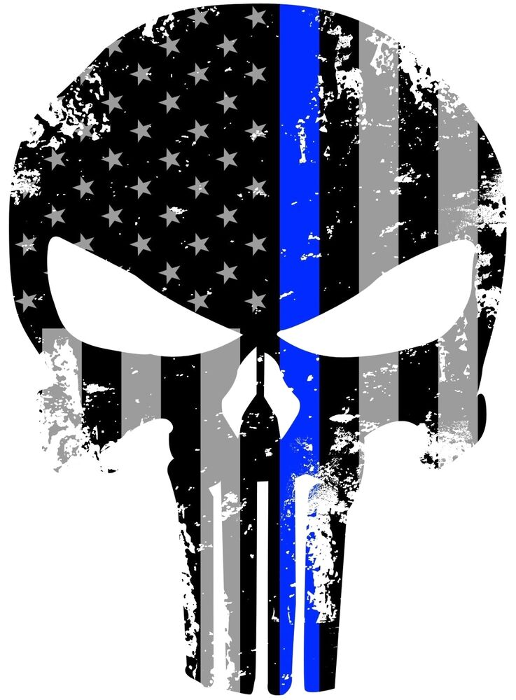 tattered punisher 5x4 inch subdued us flag thin blue line