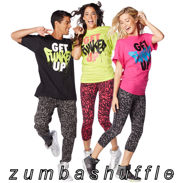zumba fitness get funked up tee black green pink t shirt new ebay. Black Bedroom Furniture Sets. Home Design Ideas
