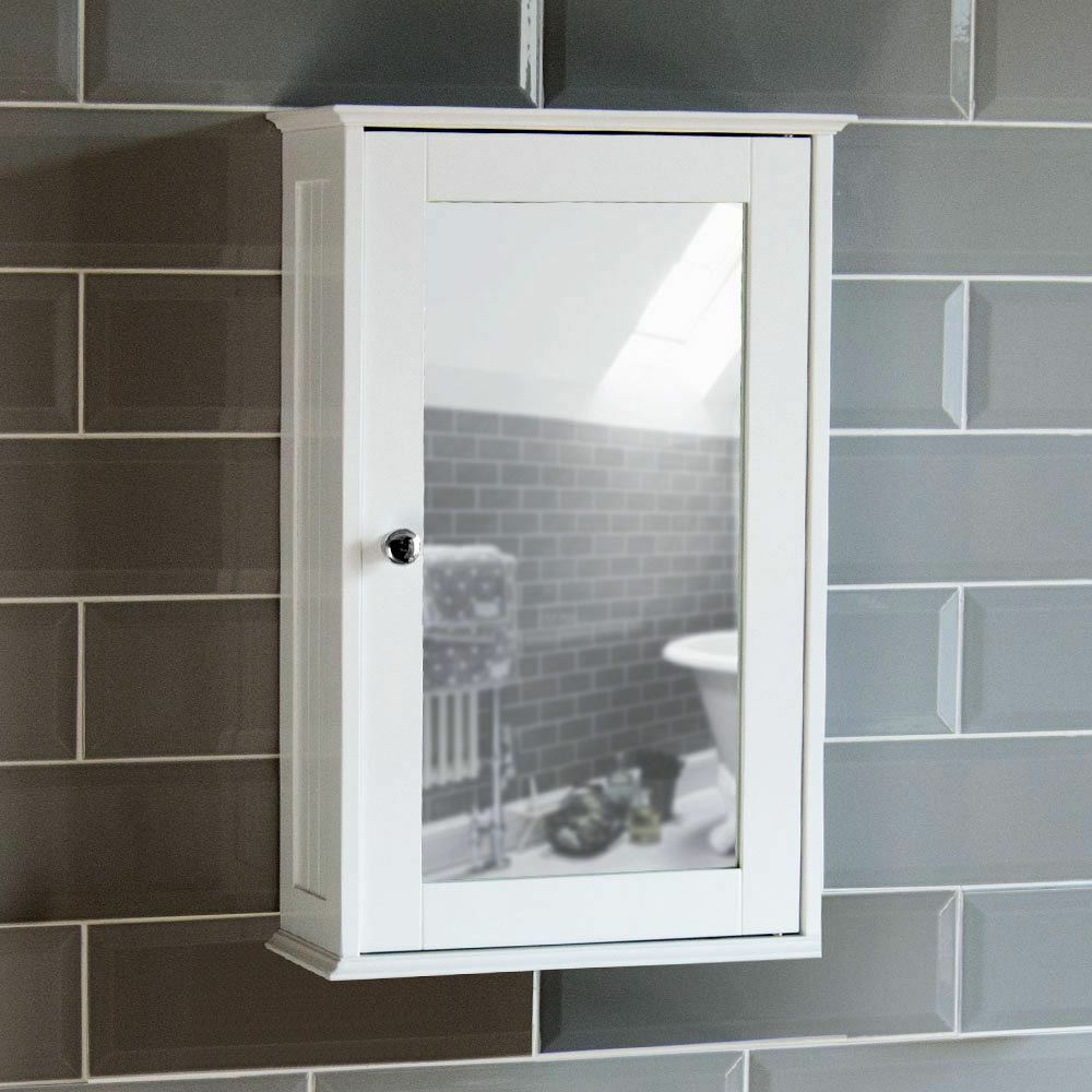 Bathroom Wall Cabinet Single Mirror Door Cupboard White Wood By Home Discount Ebay