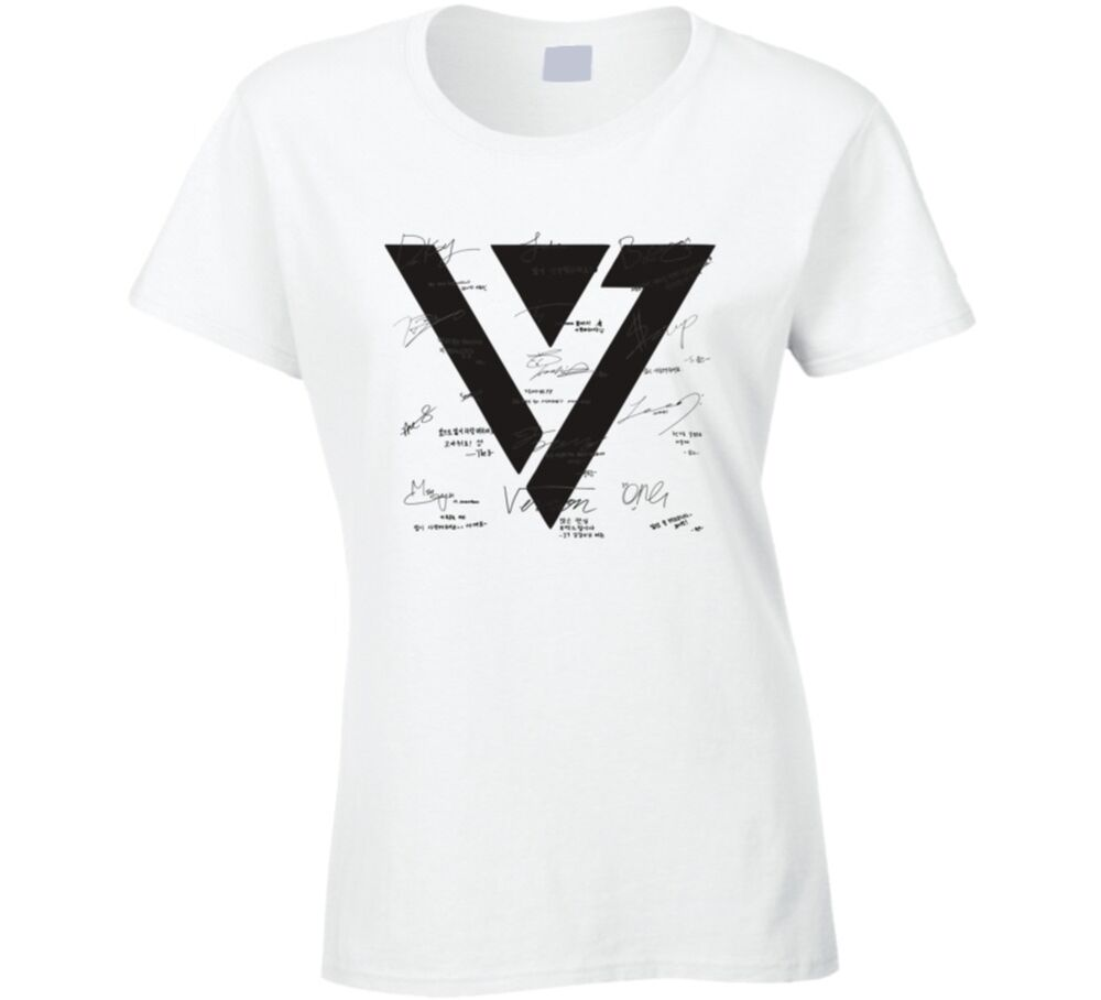 seventeen printed signed t shirt kpop photocard boys be vernon kcon tee ebay. Black Bedroom Furniture Sets. Home Design Ideas