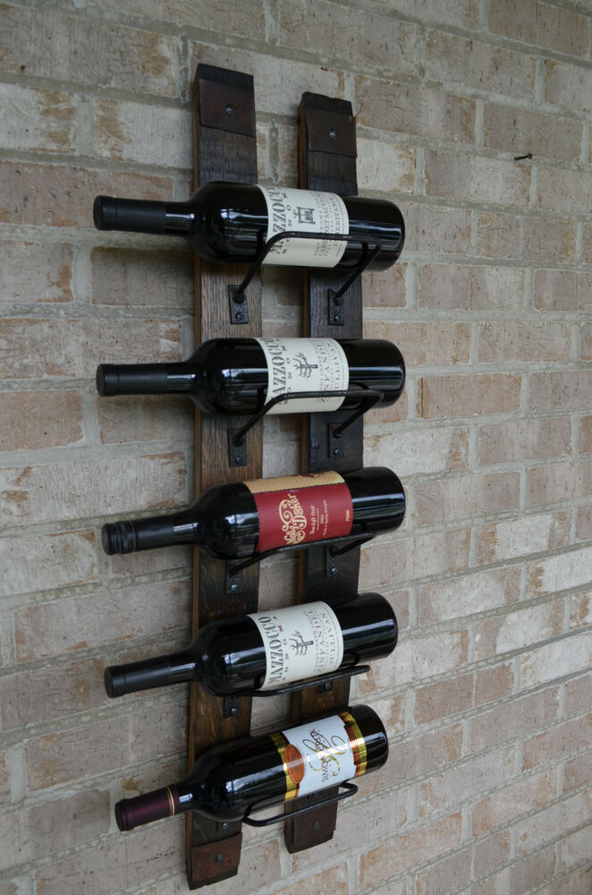 Whiskey Barrel Stave Wine Rack With Rusted Banding Ebay