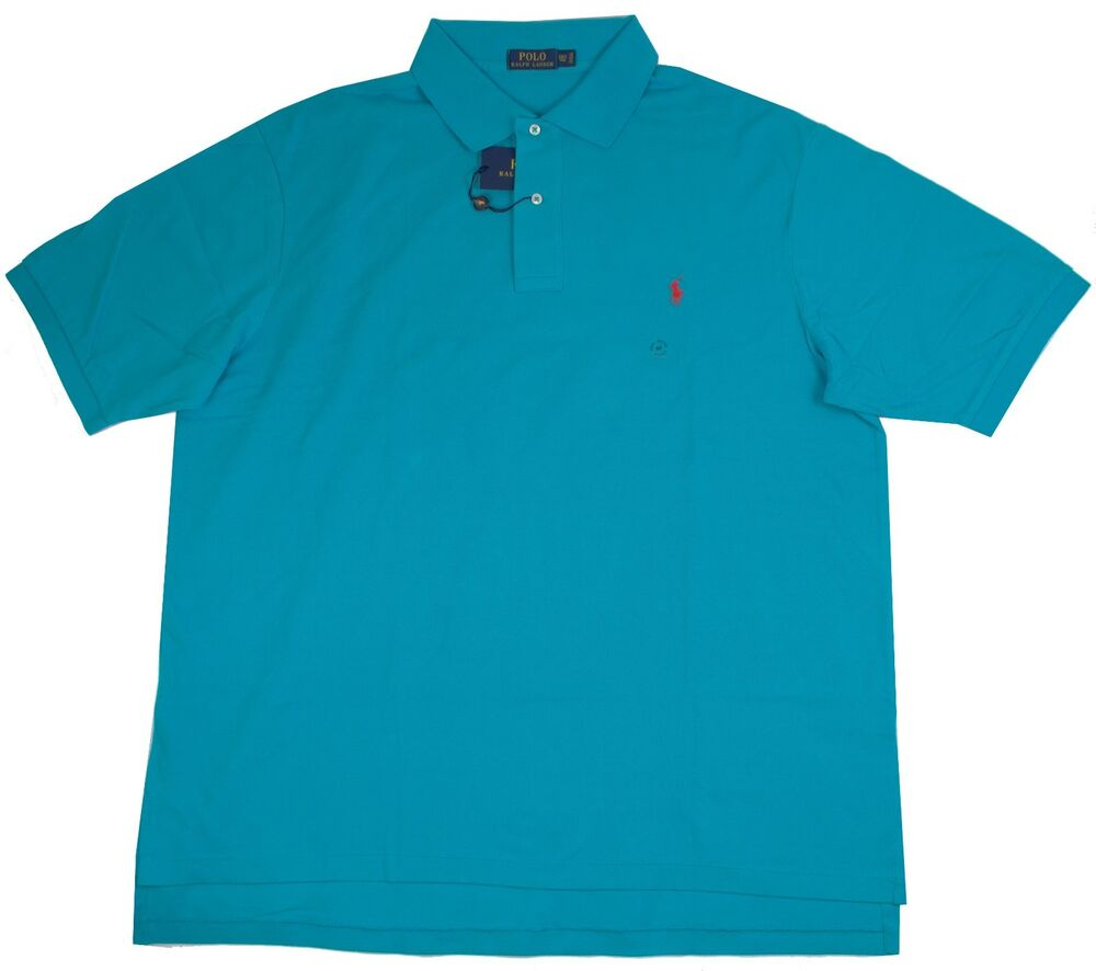 Polo Ralph Lauren Big Tall Mens Mesh Shirt Caribbean Blue
