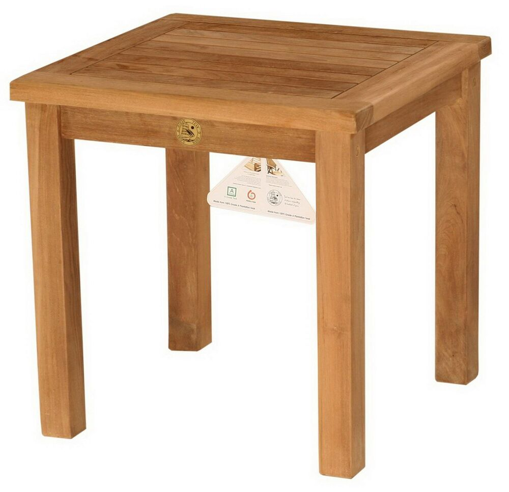 New 19 5 square outdoor teak wood side table patio for Outdoor teak side table