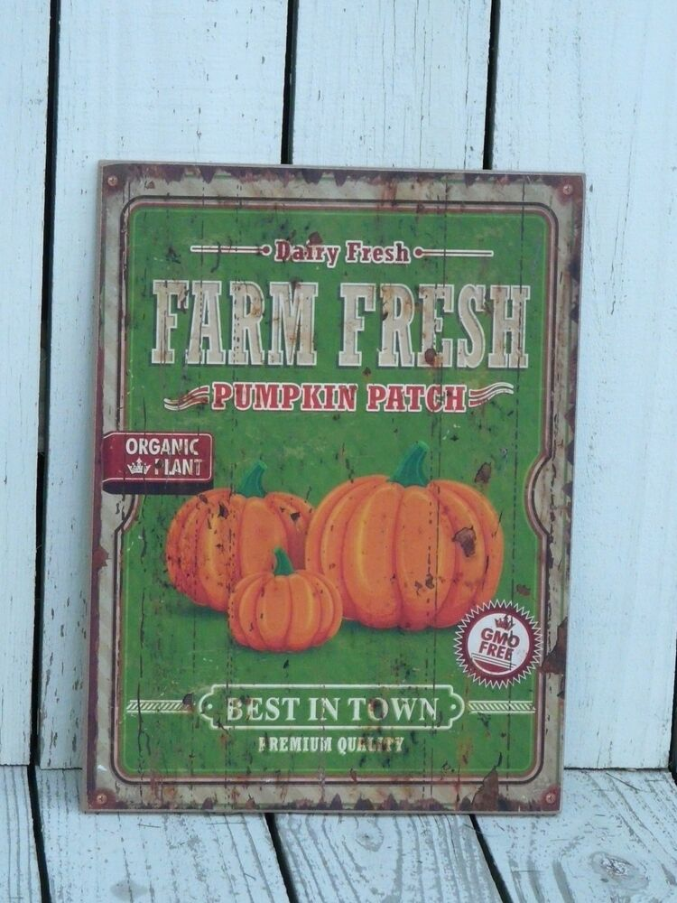 Primitive wooden sign farm fresh pumpkin patch farmhouse for Ebay decorations home