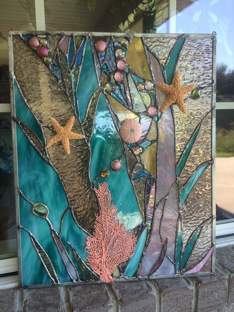Stained Glass Window Sea Shell Starfish Coral Suncatcher