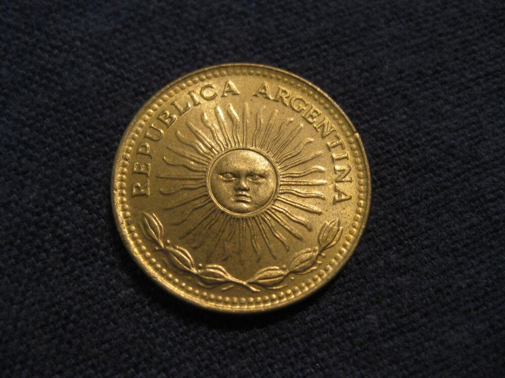 "197_ Argentina One Peso Coin ""BLAZING SUNFACE"", XF To BU"