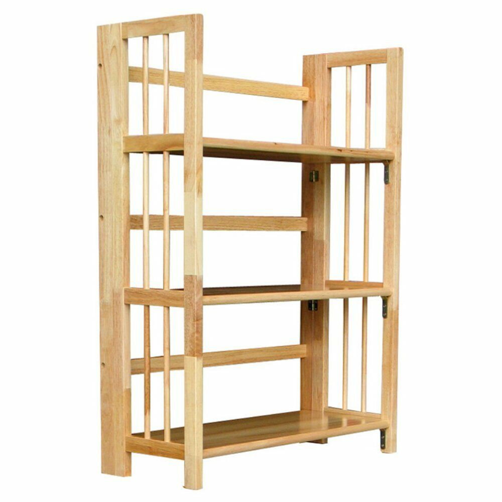 3 tier stackable folding bookcase natural ebay Folding bookshelf