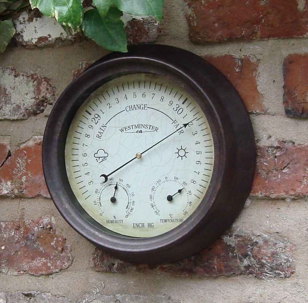Garden outdoor thermometer hygrometer barometer 150mm 6 for Thermometres exterieurs
